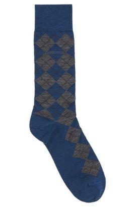 Chaussettes en laine mélangée, au motif à losanges: «John Design», Bleu foncé