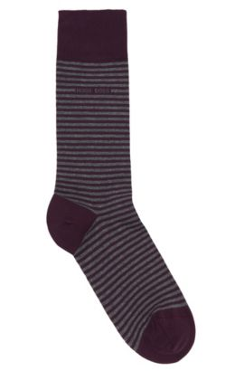 Chaussettes à rayures en coton extensible: «Marc Design», Lilas