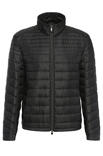 Lined quilted jacket with band collar: 'Jeon', Black