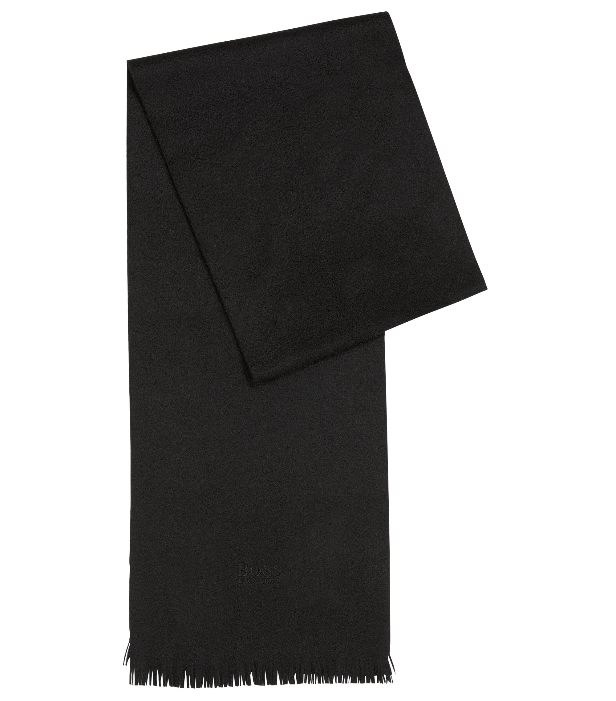 Cashmere scarf with fringed edges, Black