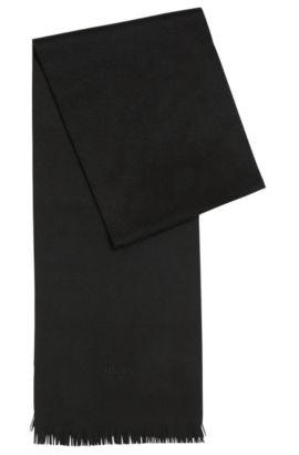 Sjaal van kasjmier met franje, Zwart