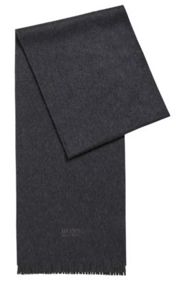 Cashmere scarf with fringed edges, Dark Grey