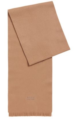 Cashmere scarf with fringed edges, Beige