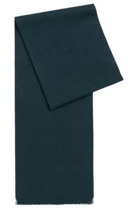 Sciarpa in cashmere con estremità con frange, Verde scuro