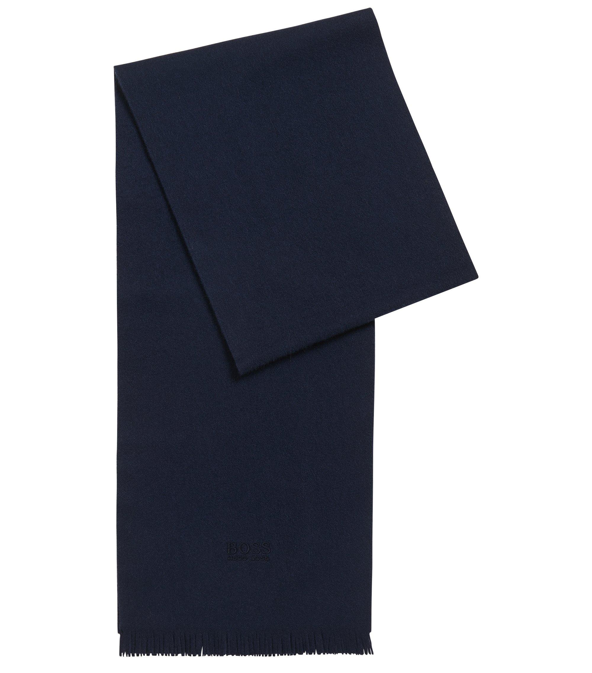 Sciarpa in cashmere con estremità con frange, Blu scuro