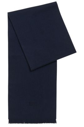 Cashmere scarf with fringed edges, Dark Blue