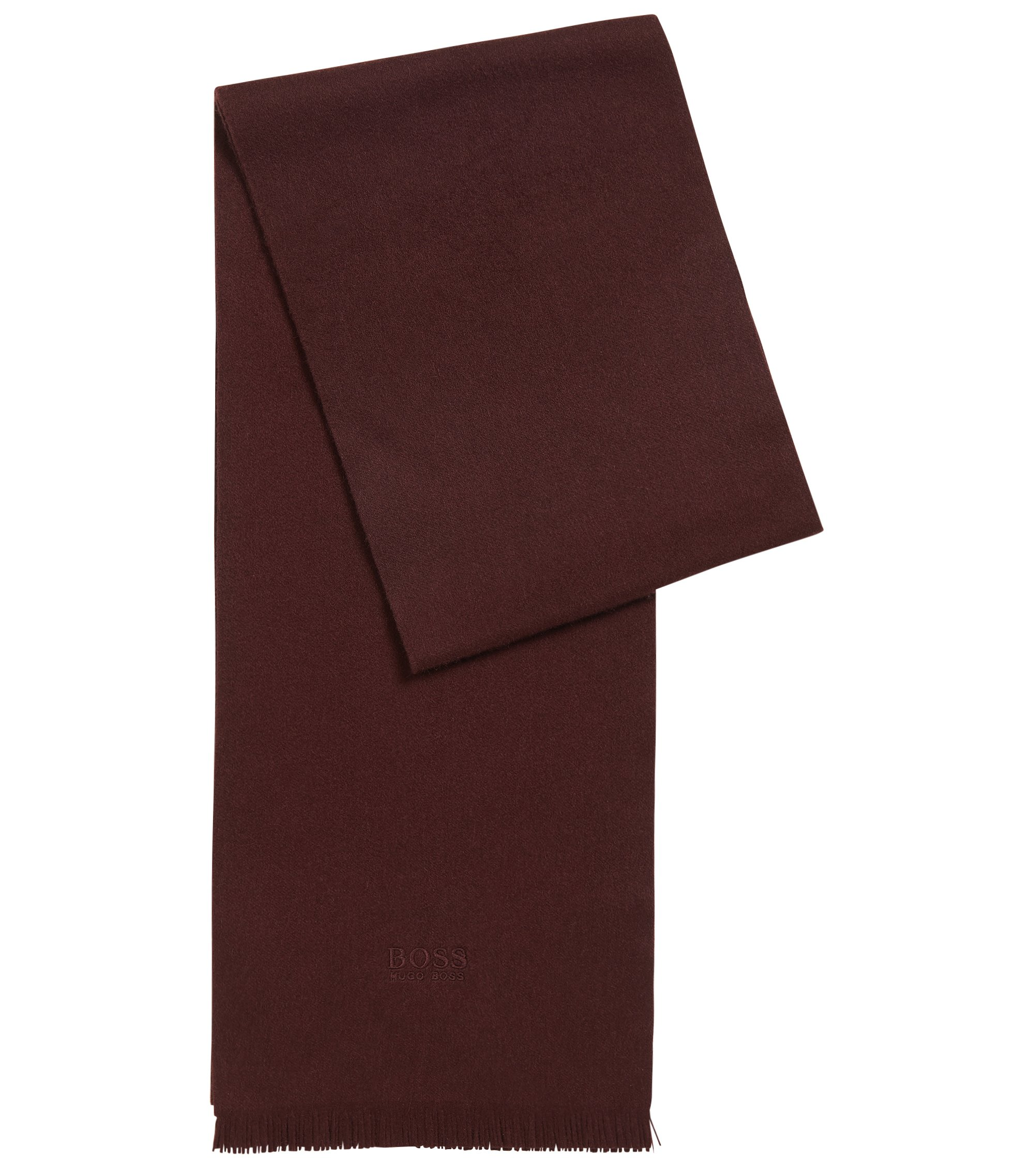 Cashmere scarf with fringed edges, Dark Red