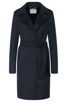 Mantel aus reiner Schurwolle mit Bindegürtel: 'Canika', Dunkelblau