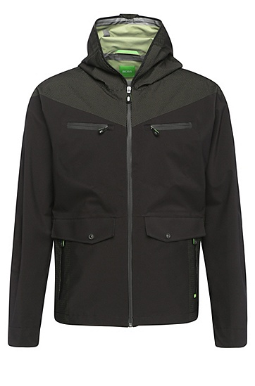 Regular-fit jacket in fabric blend: 'Jarleston', Black