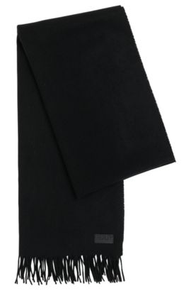 Plain scarf in a wool blend with cashmere: 'Men-Z 451', Black