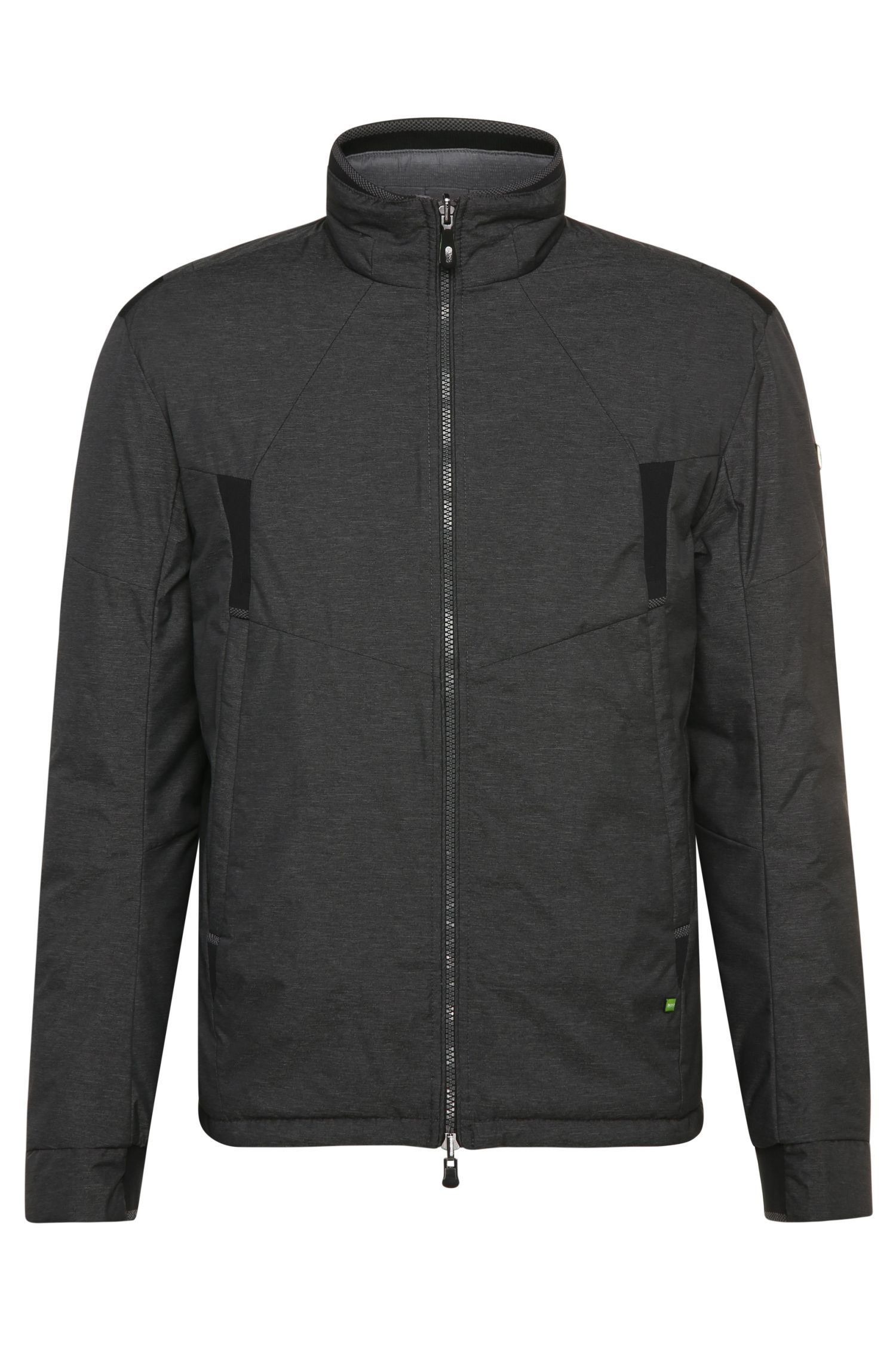 Quilted outdoor jacket in smooth fabric blend with reversibility function: 'Jakobo'