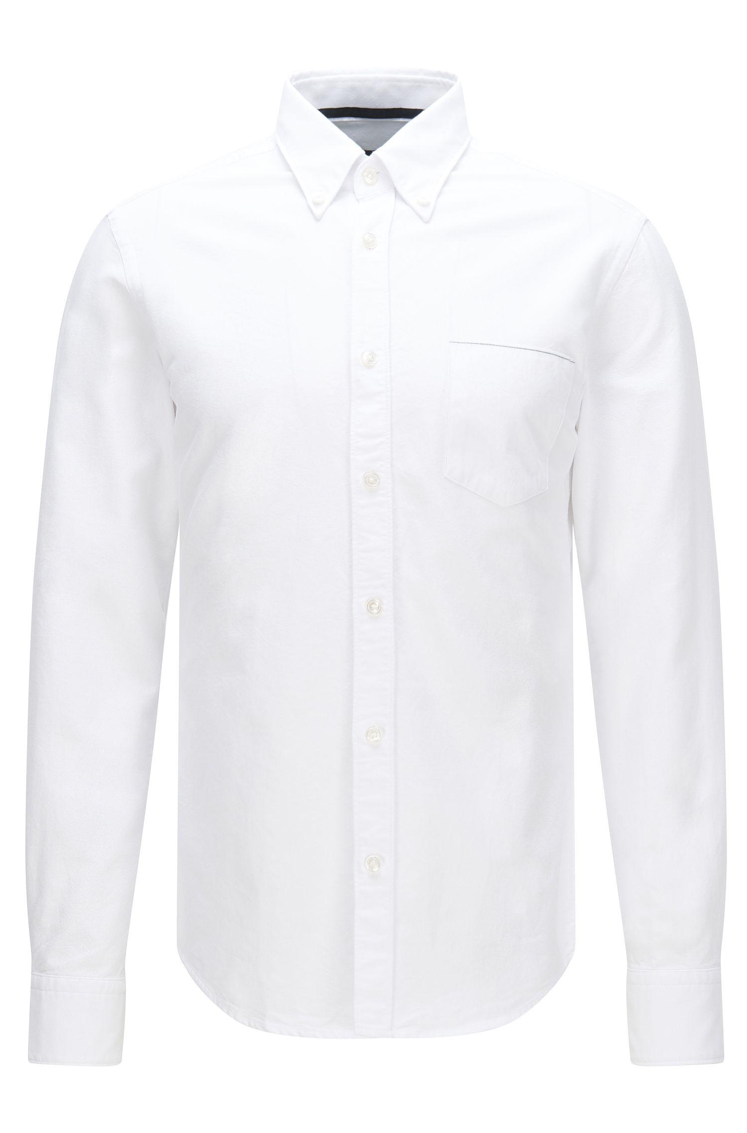 Camicia slim fit in cotone con taschino applicato sul petto: 'Rubens_P'