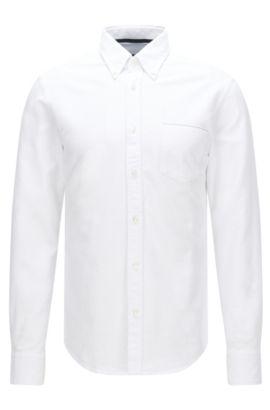Slim-Fit Hemd aus Baumwolle mit aufgesetzter Brusttasche: 'Rubens_P', Natur