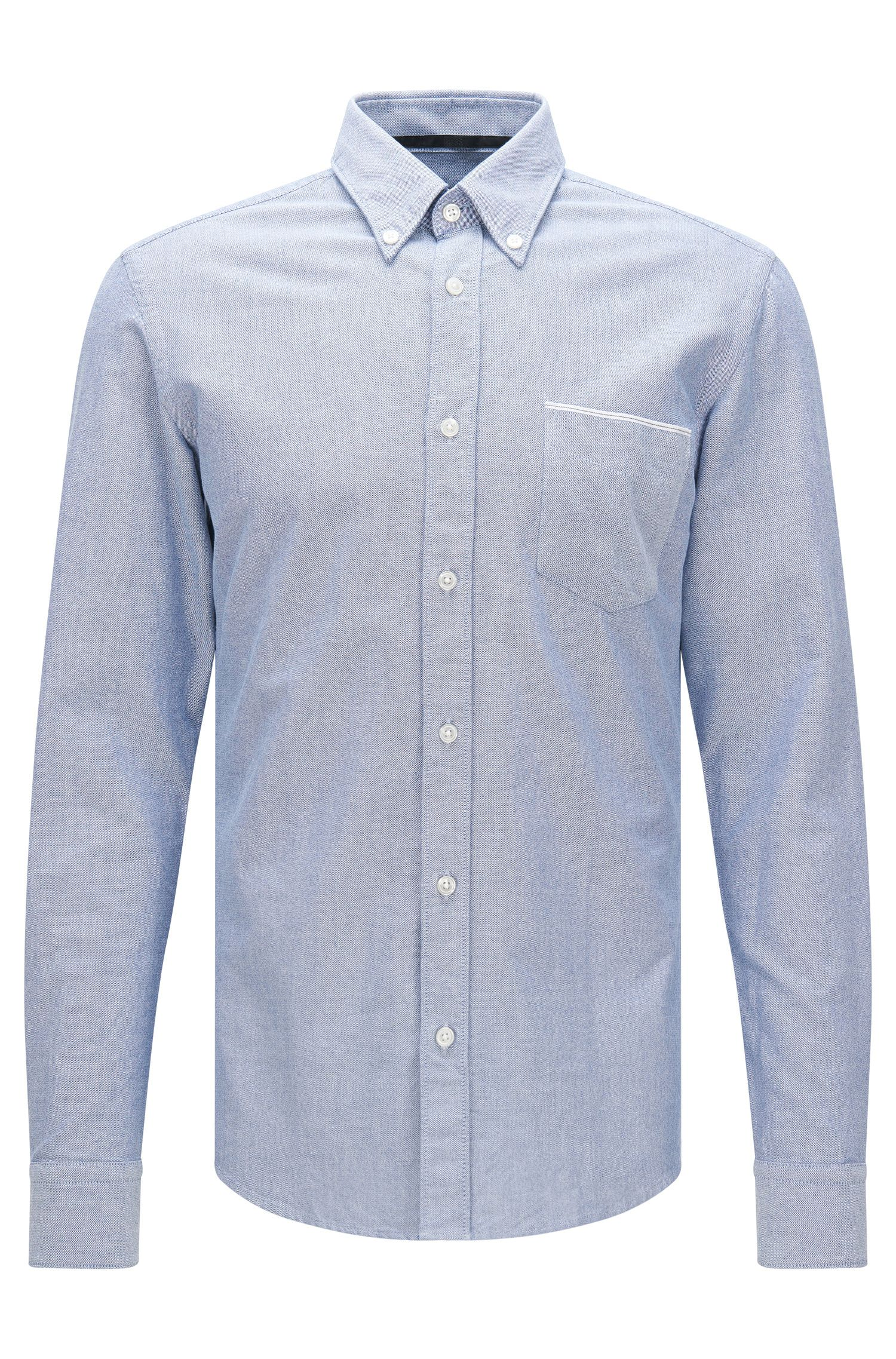 Camicia slim fit in cotone con taschino applicato sul petto: 'Rubens_P'