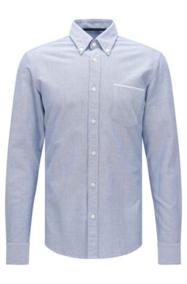 Camicia slim fit in cotone con taschino applicato sul petto: 'Rubens_P', Celeste