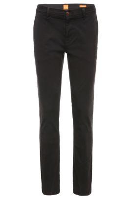 Slim-fit chinos in cotton and elastane: 'Schino-Slender-D', Black