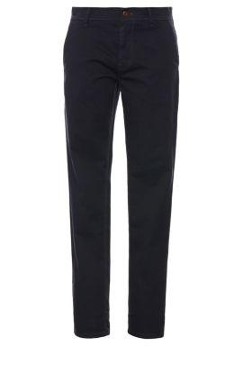 Chino Slim Fit en coton extensible: «Schino-Slender-D», Bleu foncé