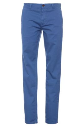 Slim-fit chinos in cotton and elastane: 'Schino-Slender-D', Open Blue