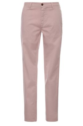 Chino Slim Fit en coton extensible : « Schino-Slender-D », Rose clair