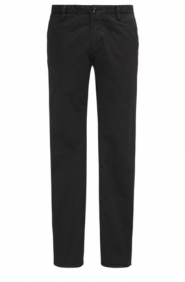 Pantalon Slim Fit en gabardine stretch, Noir