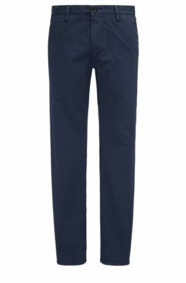 Slim-fit trousers in stretch gabardine, Dark Blue