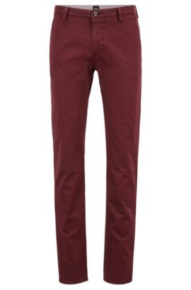 Pantalon Slim Fit en gabardine stretch, Rouge