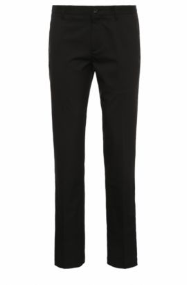Slim-fit trousers in soft fabric: 'Hakan 9', Black