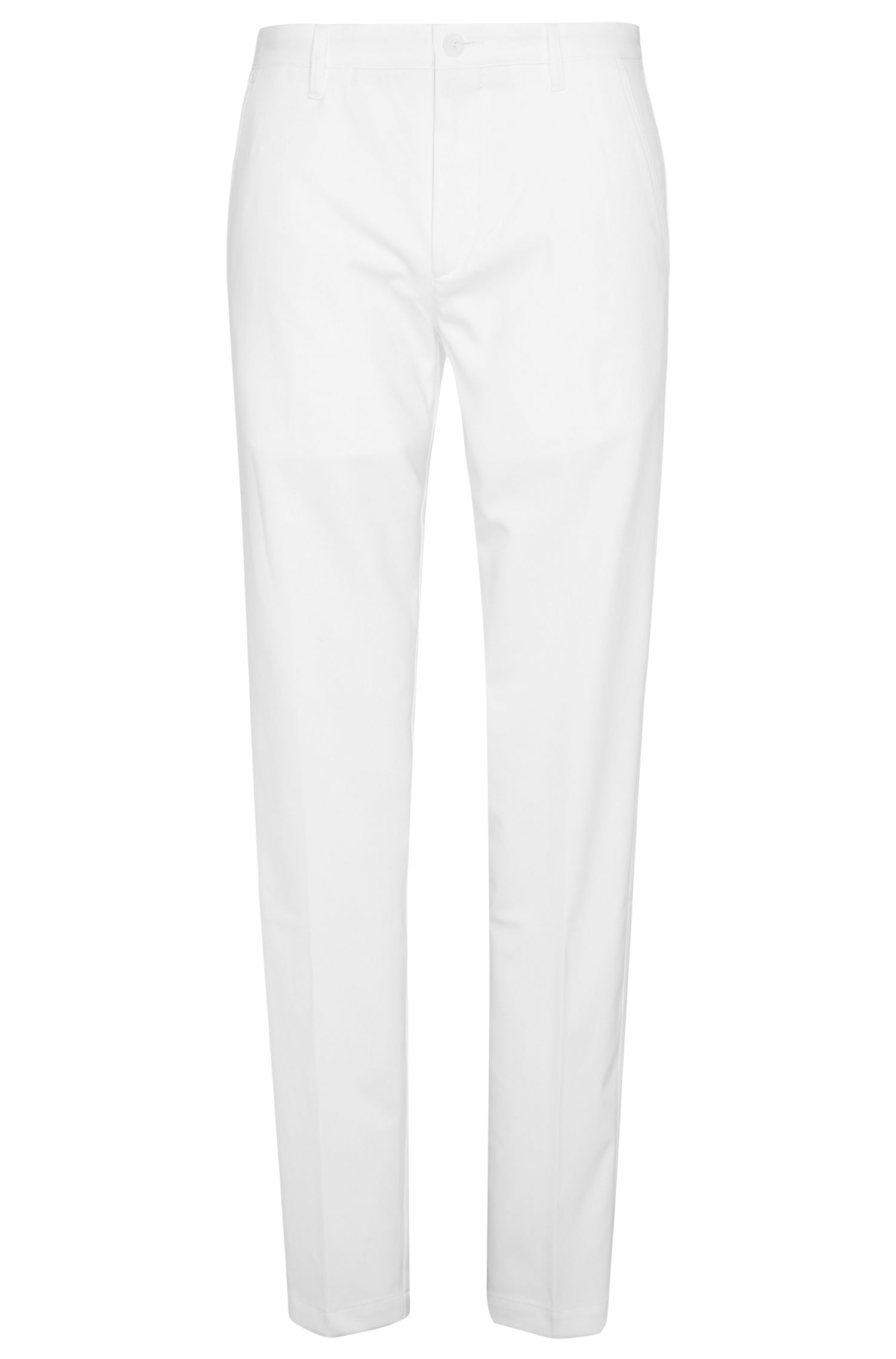 Pantalón slim fit en tejido suave: 'Hakan 9', Blanco