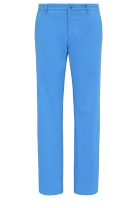 Slim-fit trousers in soft fabric: 'Hakan 9', Blue
