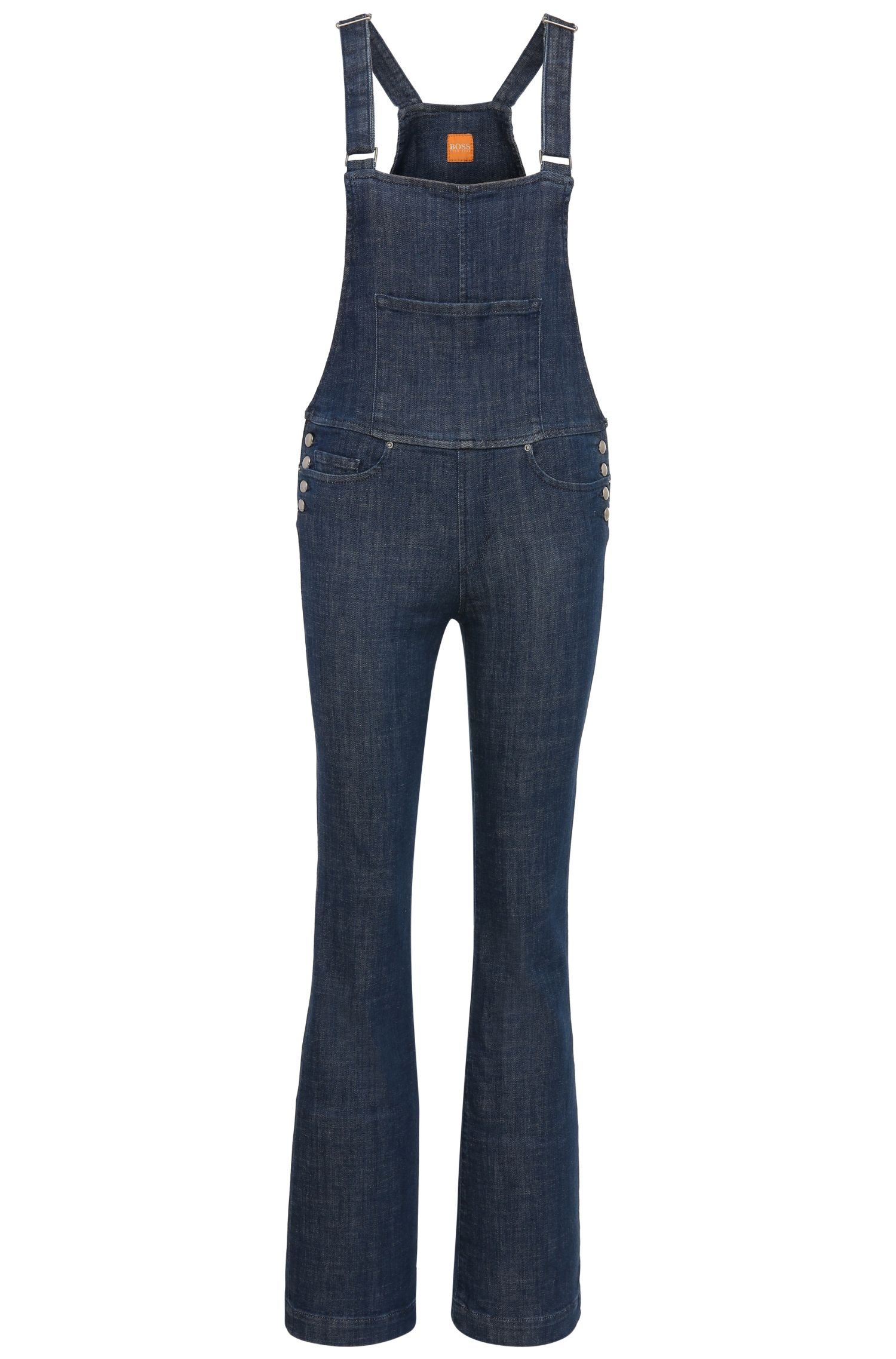 Jeans dungarees with bib in stretch cotton blend: 'Orange J90 Paris'