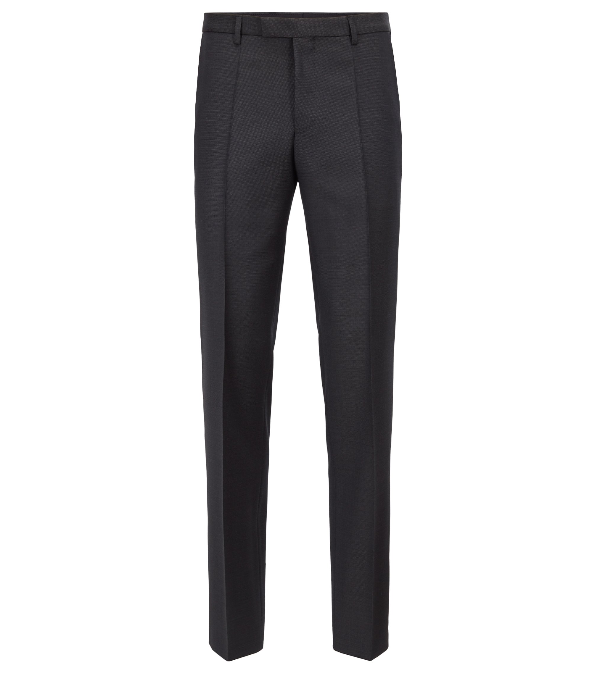 Pantalon Regular Fit en laine vierge unie, Anthracite