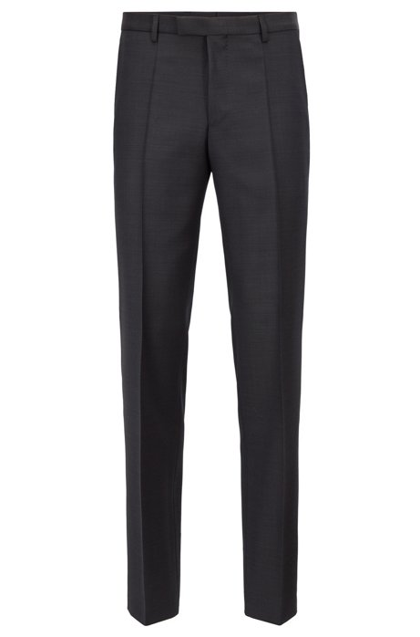 Regular-fit trousers in plain virgin wool, Anthracite