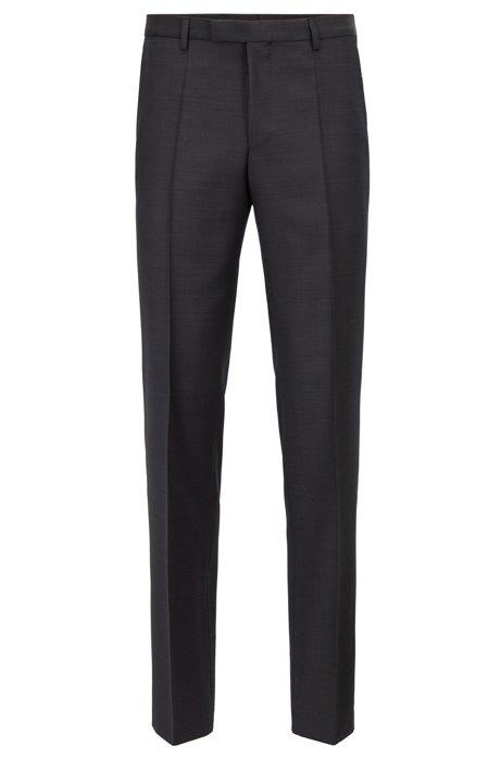 Pantalon Regular Fit en laine vierge unie, Anthracite