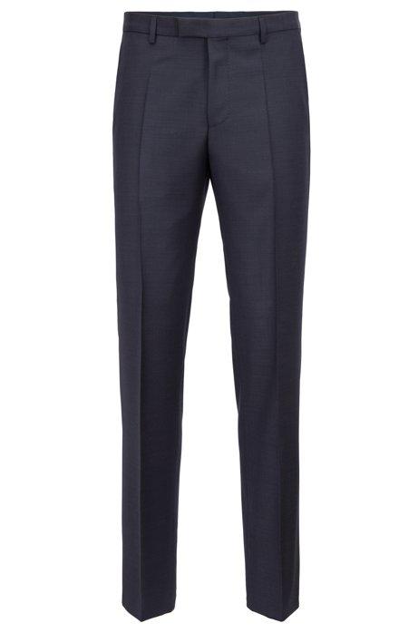 Regular-fit broek van effen scheerwol, Donkerblauw