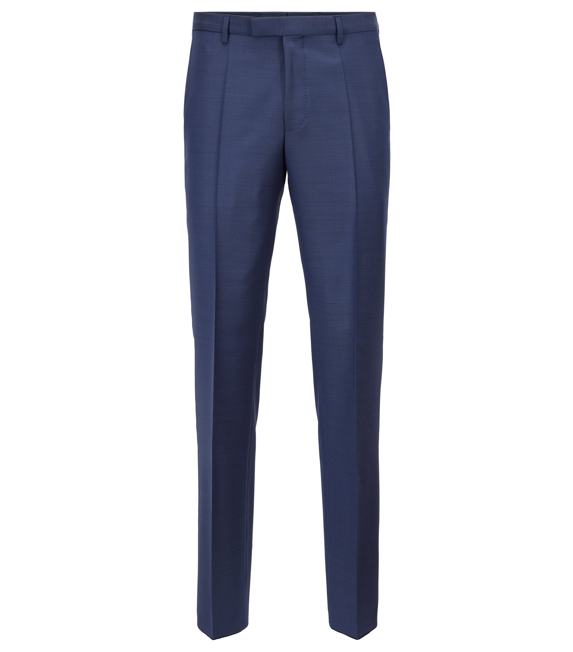 Pantalon Regular Fit en laine vierge unie, Bleu