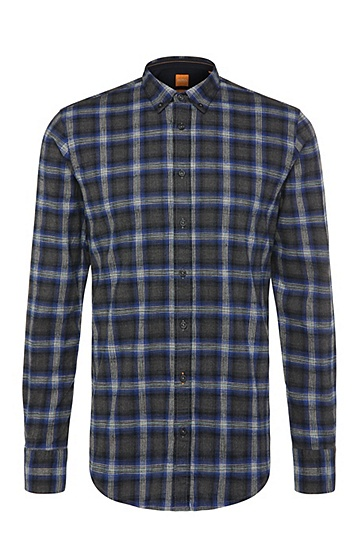 Checked-pattern, slim-fit shirt in cotton: 'EdipoE', Dark Blue