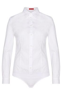 Camicetta a body in cotone elasticizzato con orlo elastico: 'Elyn', Bianco