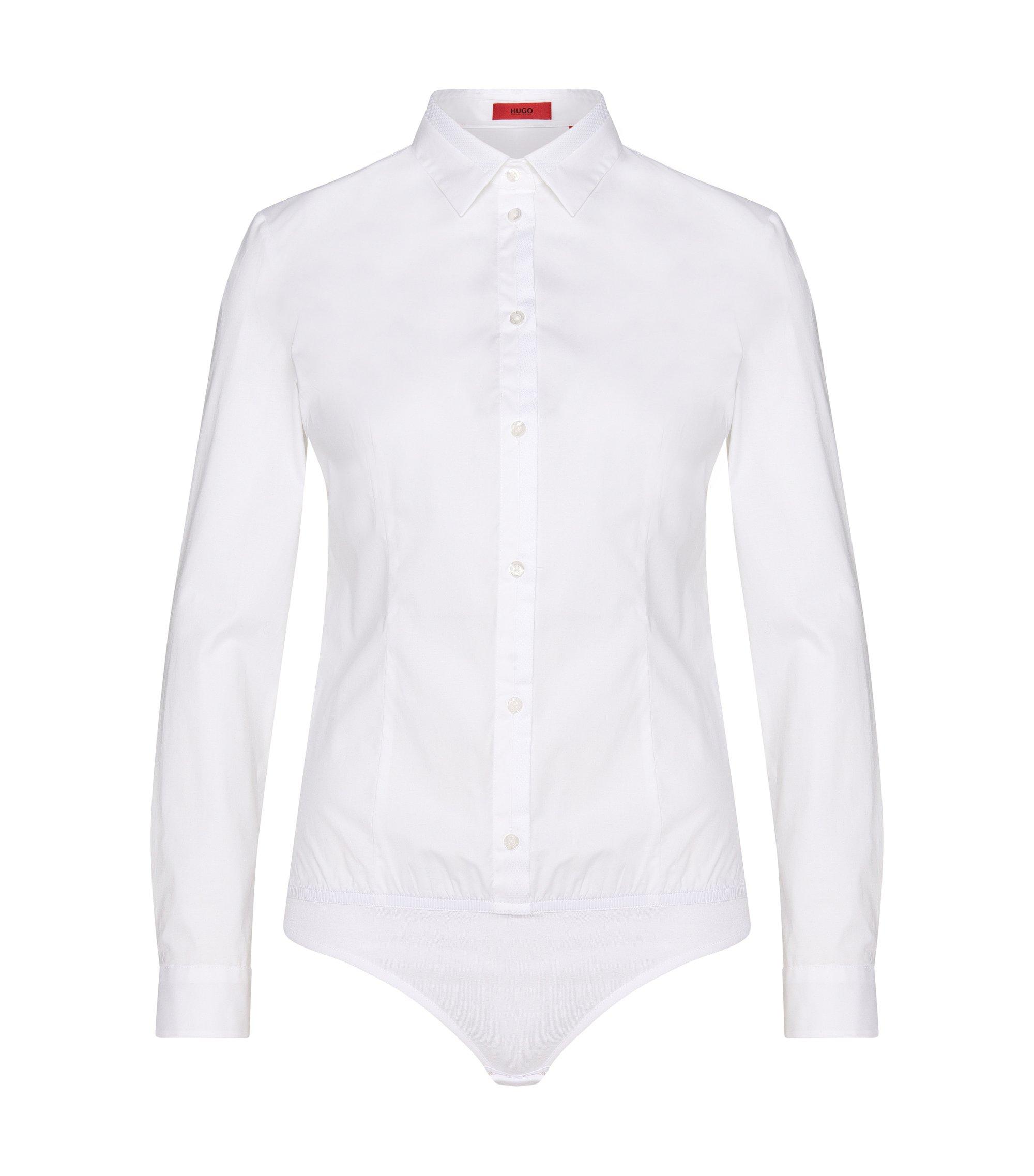 Blusa tipo body en algodón elástico con dobladillo elástico: 'Elyn', Blanco