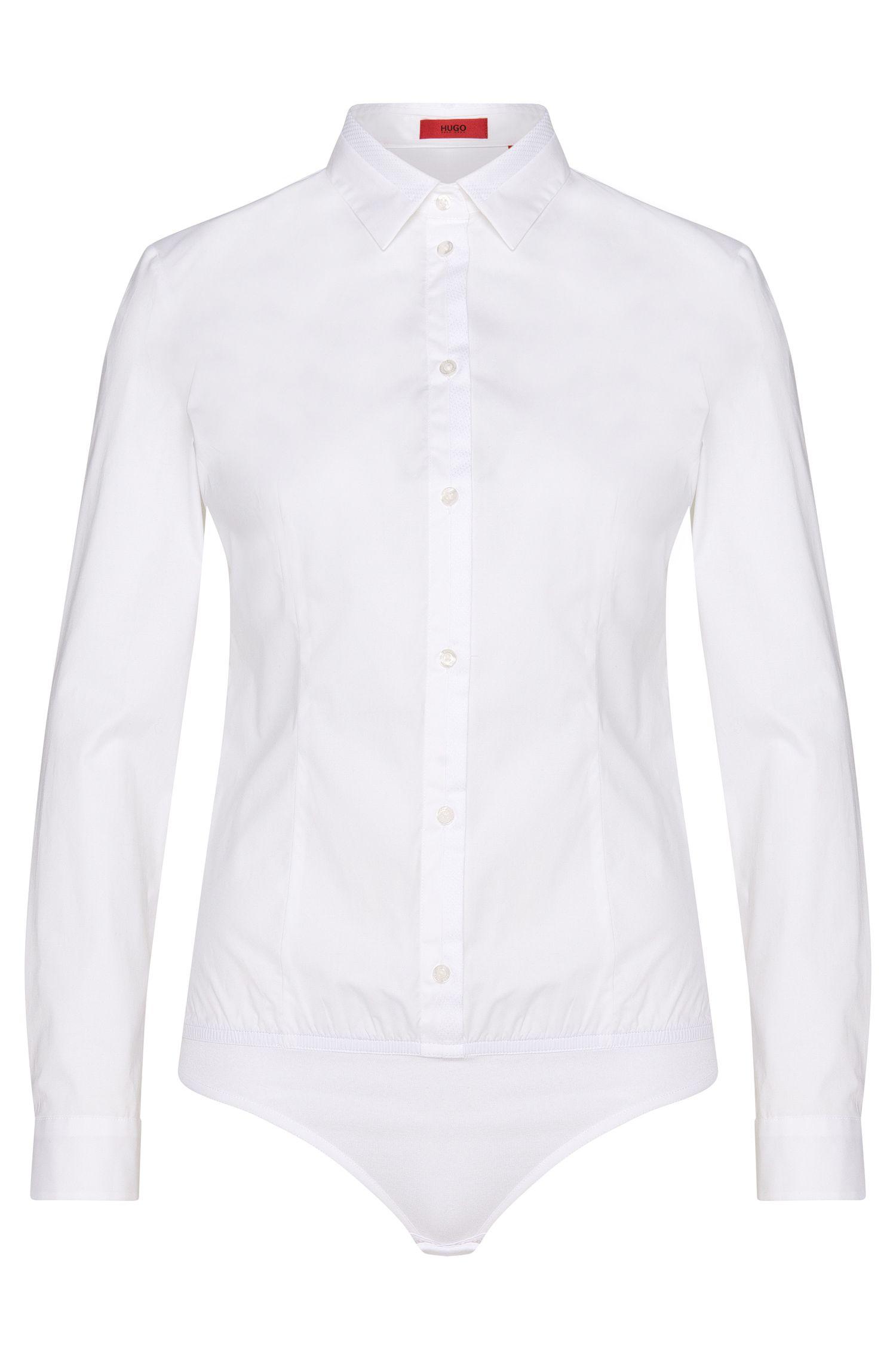 Stringbody-Bluse aus Stretch-Baumwolle mit Elastiksaum: 'Elyn'