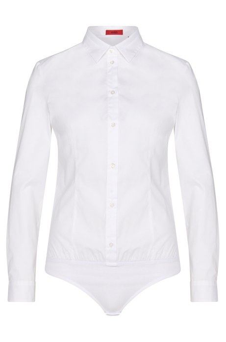Stringbody blouse in stretch cotton with elastic hem: 'Elyn', White