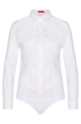 Chemisier body string en coton extensible, avec ourlet élastique: «Elyn», Blanc