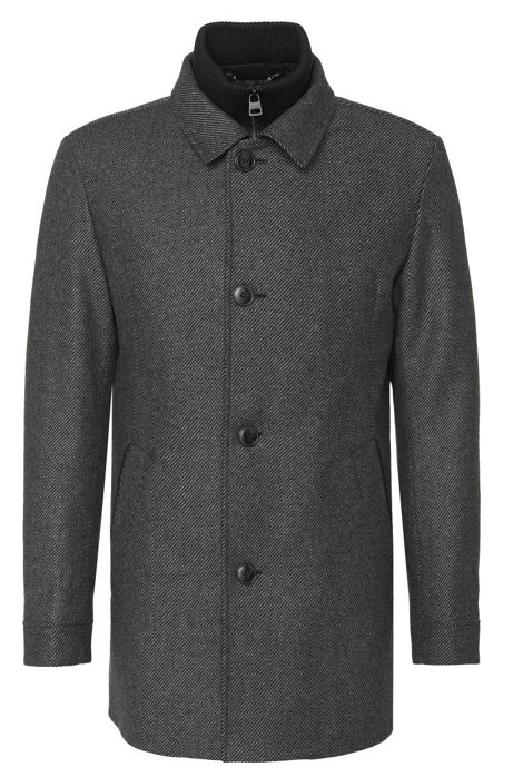 Striped jacket in fabric blend with fixed zip panel: 'Barelto', Dark Grey