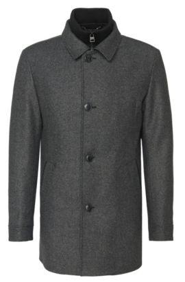 Gestreepte jas van een materiaalmix met rits- en knoopsluiting: 'Barelto':, Donkergrijs