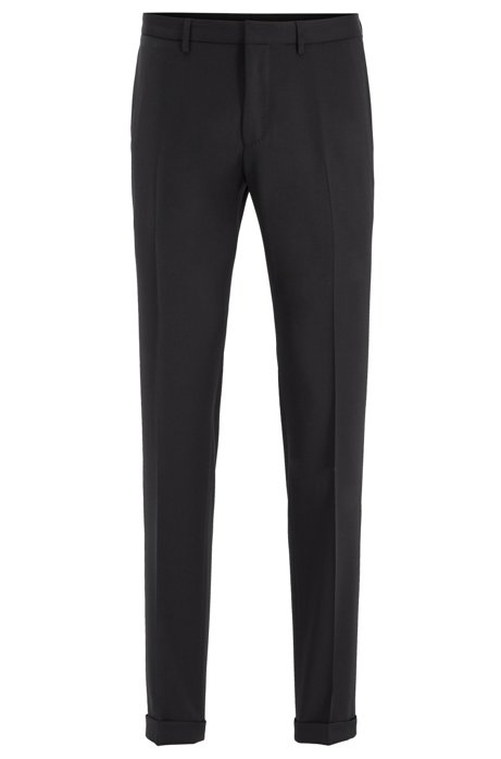 Extra-slim-fit trousers in virgin wool, Black