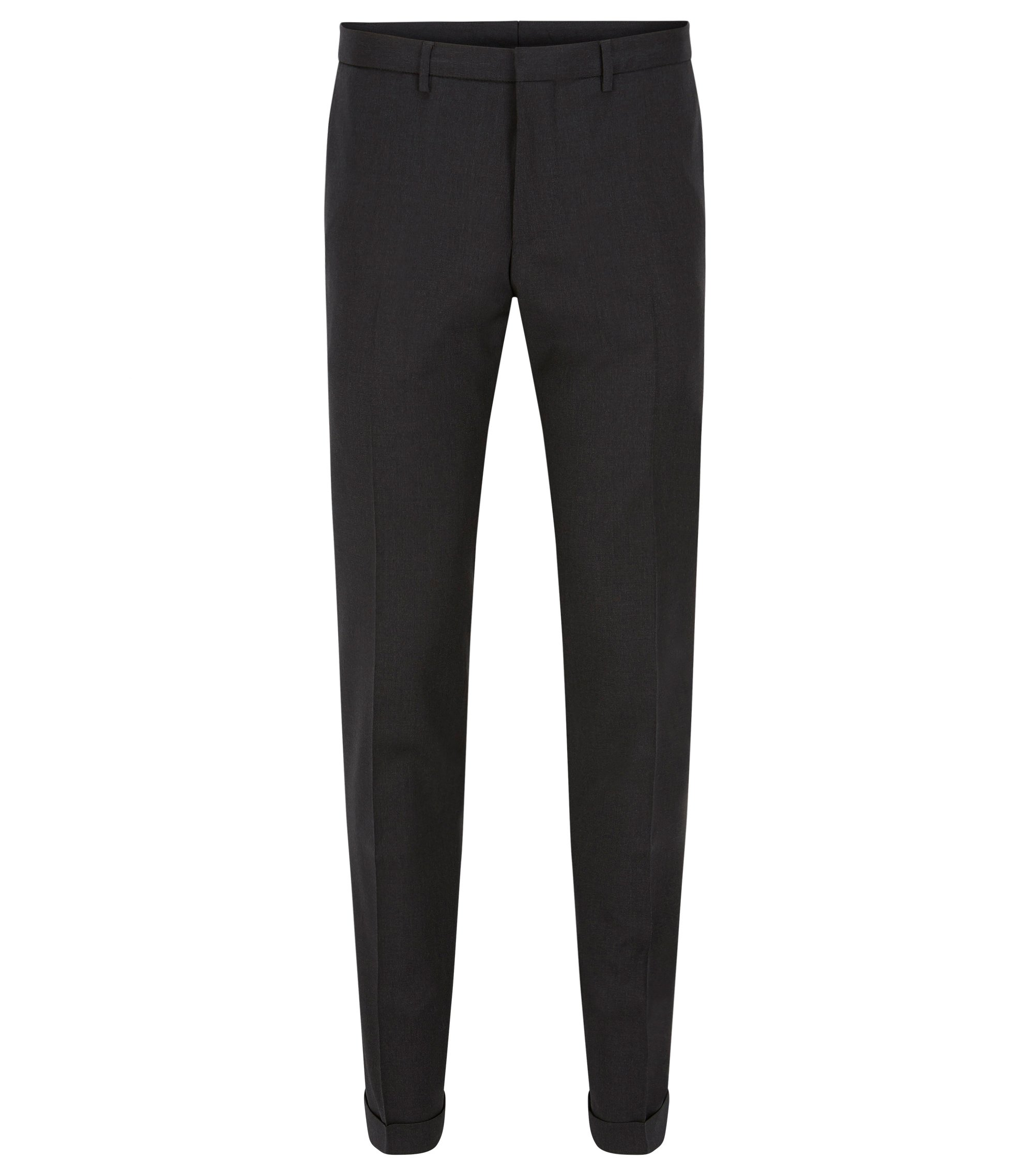 Extra-slim-fit trousers in virgin wool, Dark Grey