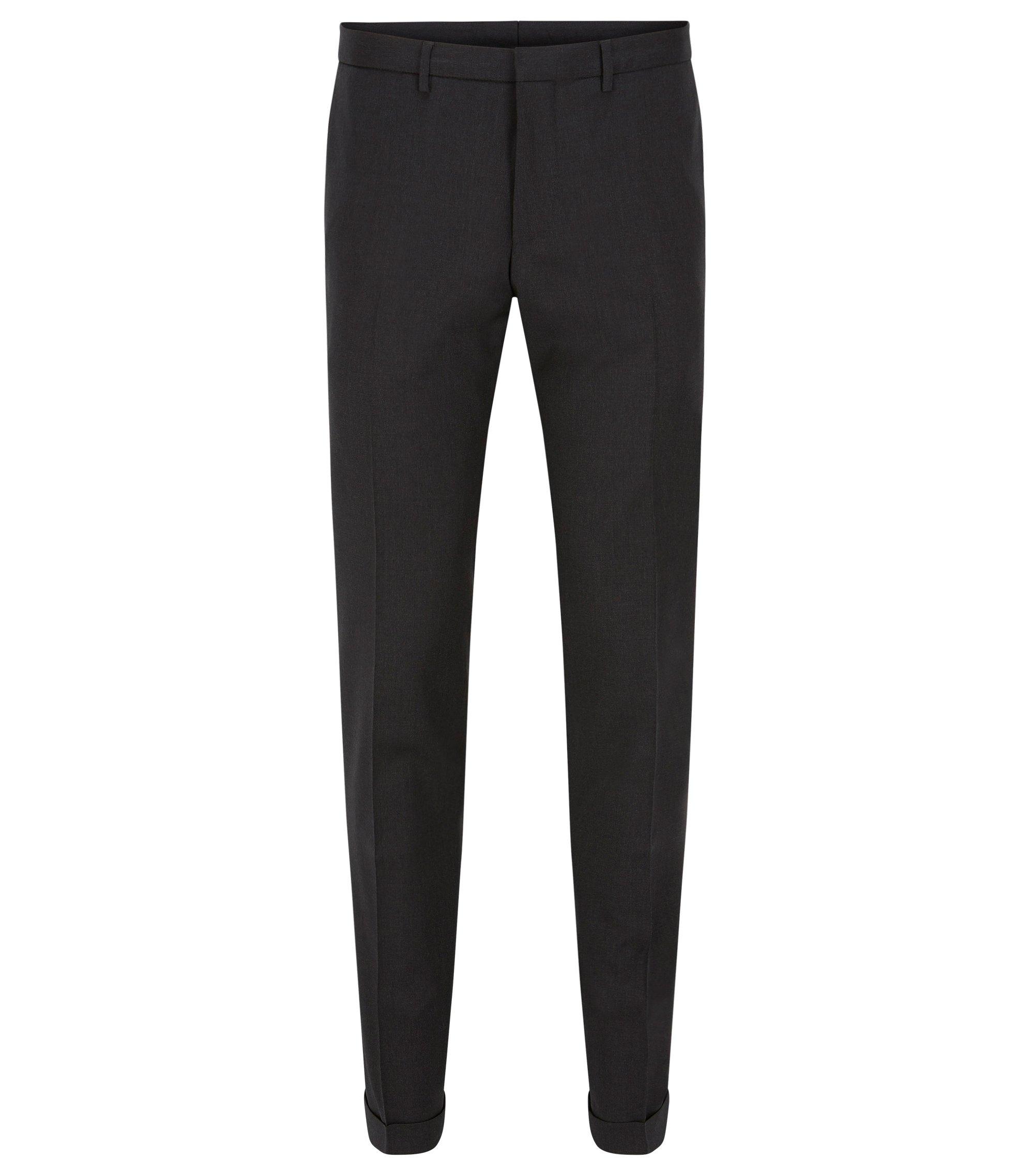 Extra slim-fit broek van scheerwol, Donkergrijs