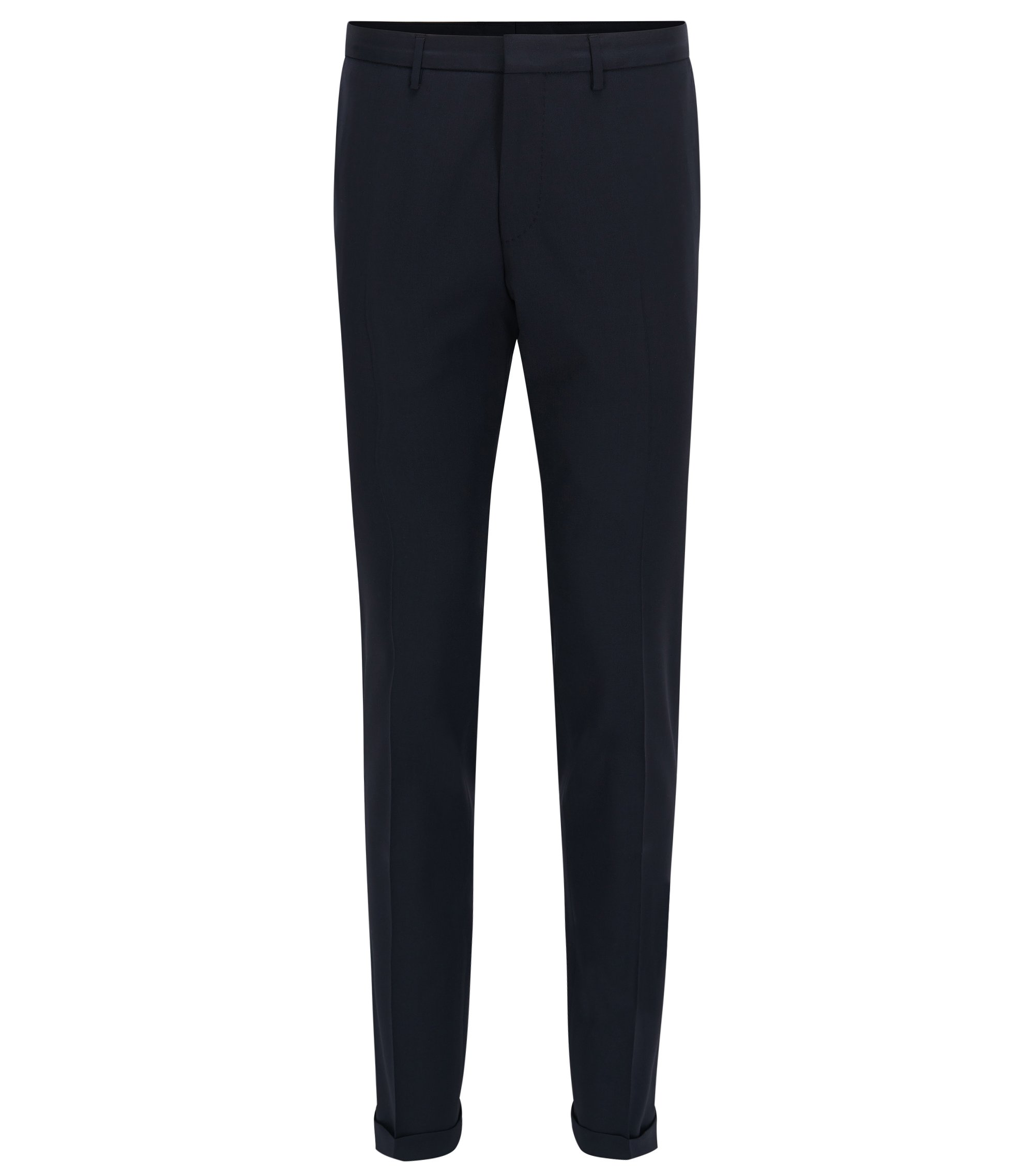 Pantaloni extra slim fit in lana vergine, Blu scuro