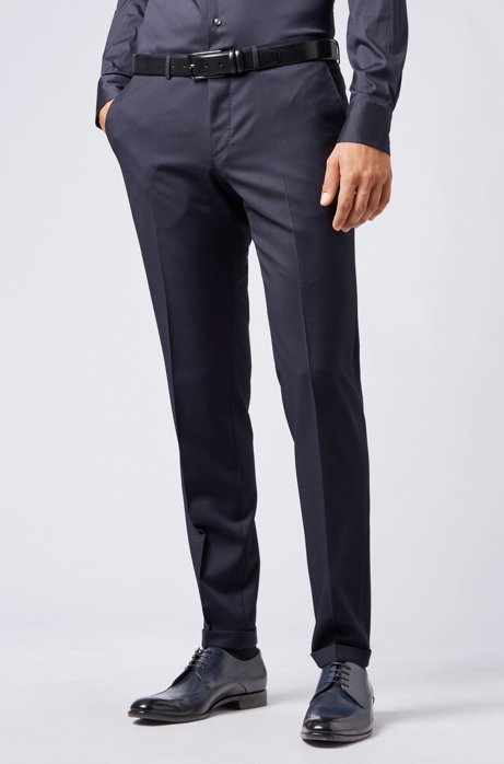 Pantalon Extra Slim Fit en laine vierge, Bleu foncé