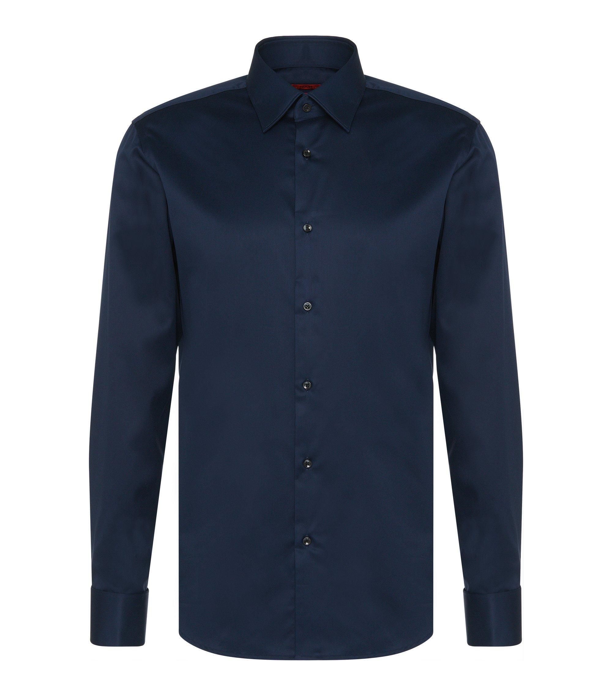 Camisa regular fit en algodón con puño doble: 'C-George', Azul oscuro