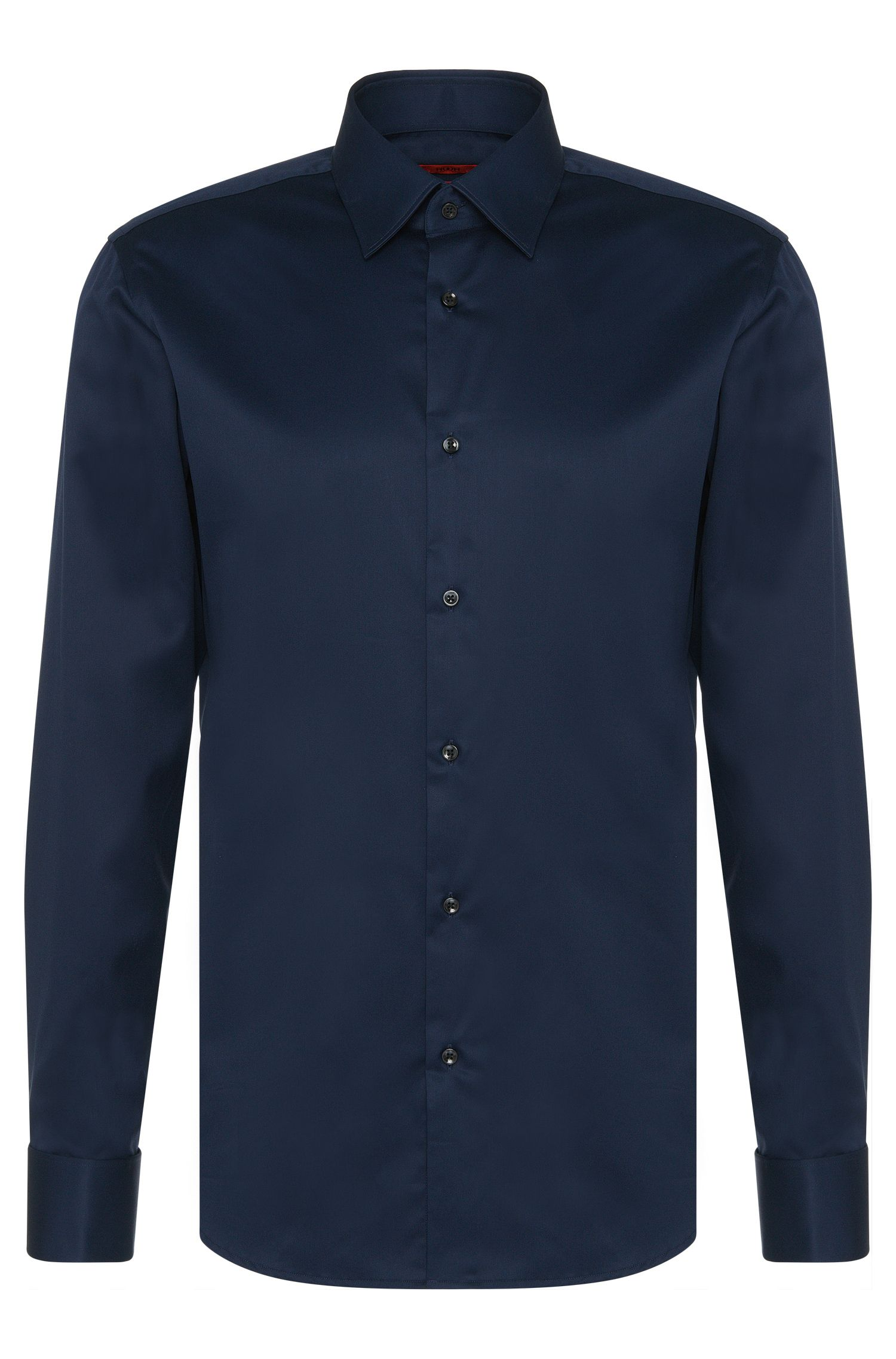 Regular-fit shirt in cotton with turn-back cuffs: 'C-George'